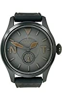 Toy Watch TTF09BK aviator black dial black leather strap men watch NEW