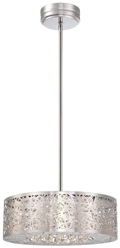 "Kovacs P982-077-L 1 Light 5.75"" Height Drum Led Pendant From The Hidden Gems Col, Chrome"