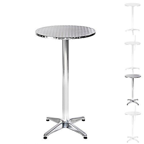 tectake table haute de bar aluminium hauteur r glable 70 ou 110 cm 60cm tube central 6 5. Black Bedroom Furniture Sets. Home Design Ideas