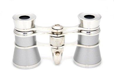 Finissimo Optics 3X25 Platinum Finish Opera Glasses With Red Reading Led Flashlight / Theater Binoculars / With Silver Trim