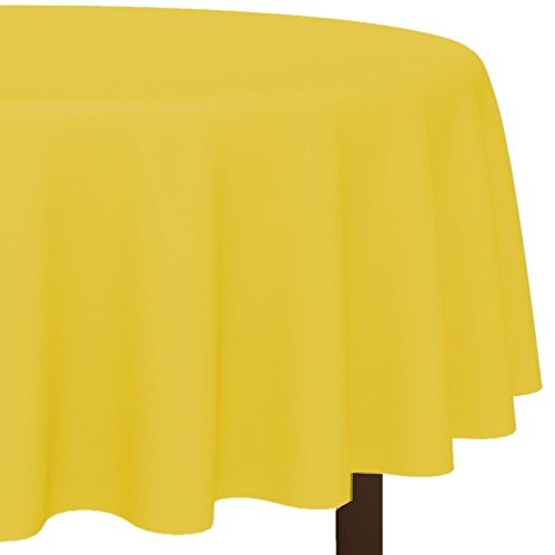 "Amscan Disposable Diameter Round Plastic Table Cover In Fits 7' Round Tables, 84"", Yellow Sunshine"