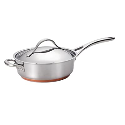 Anolon Nouvelle Copper Stainless Steel 2-1/2-Quart Covered Saucier