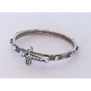 sterling silver rosary ring with silver