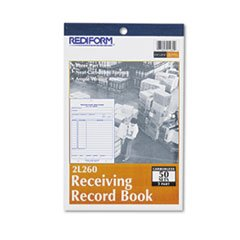 Receiving Record Book, 5 1/2 x 7 7/8, Three-Part Carbonless, 50 Sets/B