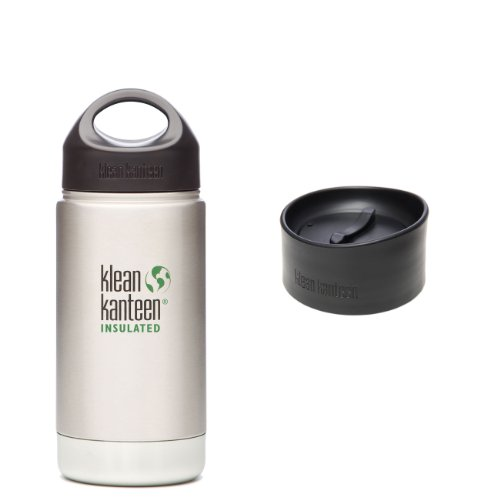 Klean Kanteen Coffee Set Wide Mouth Insulated Bottle W/ 2 Caps (Stainless Loop Cap And Cafe Cap) - Brushed Stainless 12 Oz.