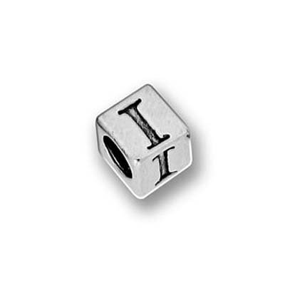 "Bleifreie Hartzinn Alphabetperle, Buchstabe ""I"", 5.5mm, Kubus, 1 Stück, antik verarbeitetes Silber"