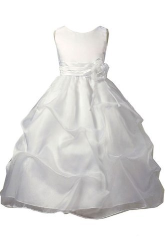 Kid Collection Girls White Flower Girl Communion Dress Size 6