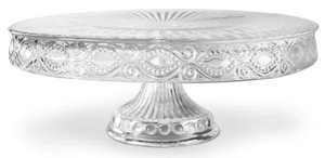 Savoie Glass Round Cake Stand, Clear Square Footed Cake