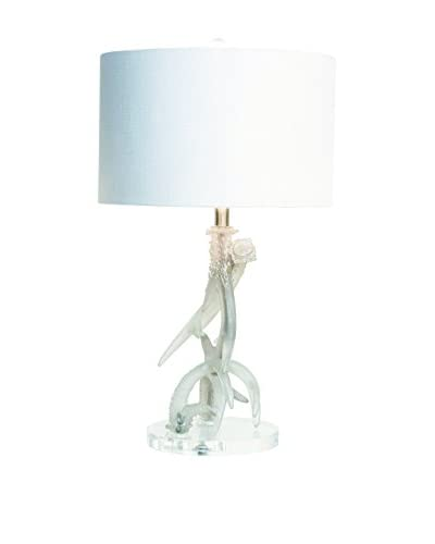 Couture Frosted Antler Table Lamp, Clear/Brushed Silver