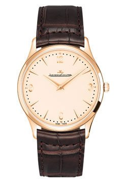 Jaeger LeCoultre Master Control Ultra Thin Champagne Dial 18kt Rose Gold Brown Leather Mens Watch Q1342520