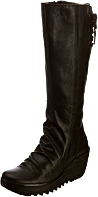 Fly London Women's Yust Leather Black Leather Platforms Boots P500327007 3 UK