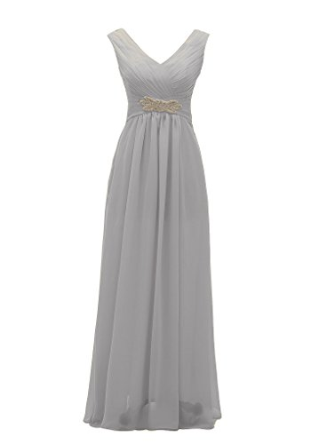 Grace Lee Chiffon V-neck A-line Zipper Long Prom Dress
