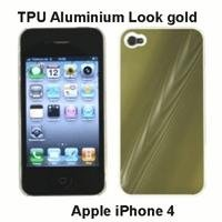 XiRRiX Premium TPU Aluminium Look Case für Apple iPhone 4, Farbe: gold