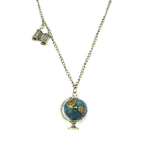 Buyinhouse Pendant Globe Telescope Chain Charm Ornate Coat Sweater Necklace