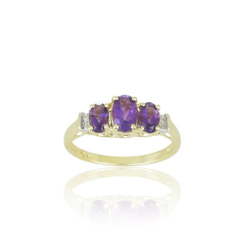 10k Yellow Gold February Birthstone 3-Stone Amethyst with Diamond-Accent Ring, Size 7