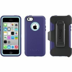 Otterbox Defender Series Case with Holster Clip for Iphone 5c Only - Retail Packaging - Violet Purple/Aqua Blue