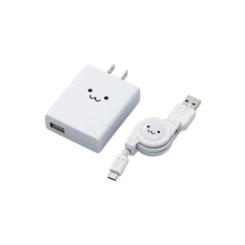 ELECOM スマートフォン用AC充電器 巻取ケーブル付 FACE MPA-ACURCシリーズ