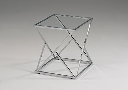 Modern Chrome Metal Glass Square Chair Side End Table (Chrome End Table compare prices)