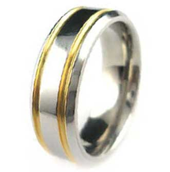 7MM High Polished Stainless Steel Ring with 2 Gold colored lines along the edges