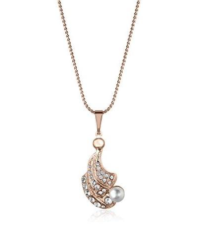 Annie Ram Collar Strass Leaf Pearl Metal Rosado