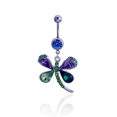 Jew Jewly Luremefashion 316L Surgical Titanium Steel Crystals Multicolor Dragonfly Pendant Navel Ring