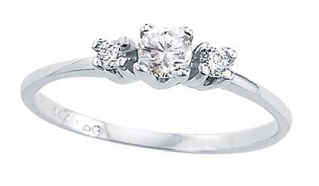 Three Stone Ring Round CZ 14k White Gold Bridal Cubic Zirconia 1/4 CT, Size 9