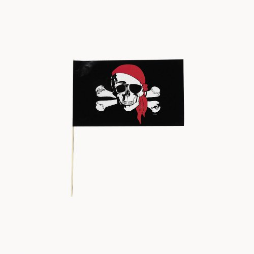 Plastic Small Pirate Flags (6 dz) - 1