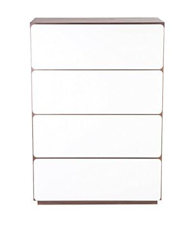 Control Brand The Mid Century Edson High 4-Drawer Chest, Walnut/White