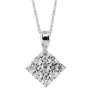 TJC Diamond Platinum Plated Sterling Silver Pendant With Chain 0.04 Ct.