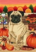 Pug Brown - by Tomoyo Pitcher, Autumn Themed Dog Breed Flags 12 x 18