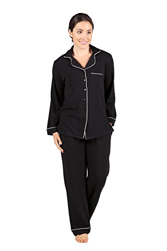 Women's Button-Up Sleepwear Set - Classic Comfort (Black, Medium) Perfect Gifts for Anniversary Valentine's Day WB0004-BLK-M