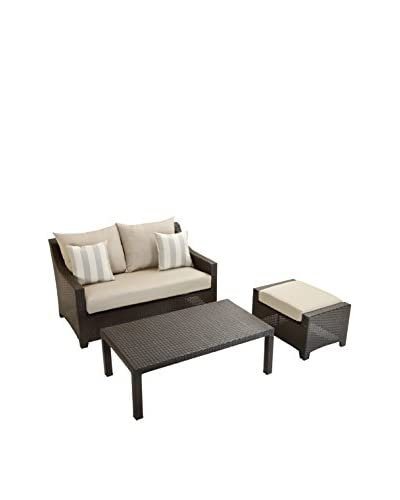 RST Brands Deco Loveseat & Ottoman With Coffee Table Set, Grey
