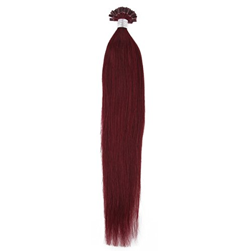 "Beauty7 50G 0.5G/S Pre Bonded Nail U Tip Real Remy Human Hair Extensions 18"" 20"" 22"" 24"" #99J Red Plum (20"" 0.5G/S) front-761458"