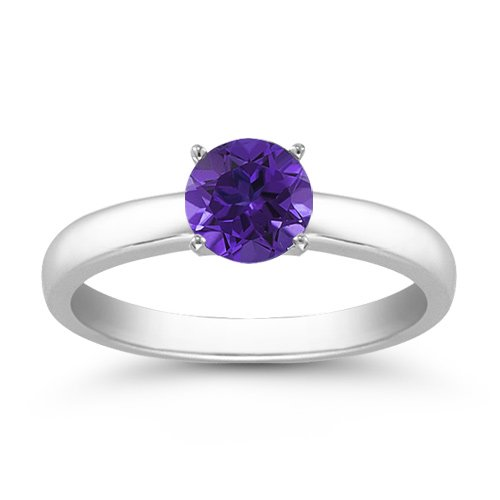 1.00 Carats 6mm Tanzanite Gemstone Solitaire Ring in 14K White Gold