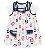 2 Piece Pure Cotton Floral Pinafore & Bodysuit Outfit