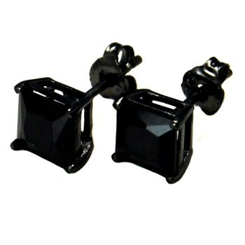 Authentic Black Enamel Stud Earrings Sterling