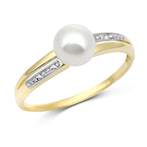 Miore 9ct Yellow Gold Freshwater Pearl and Diamond Ring MT059R- Size N
