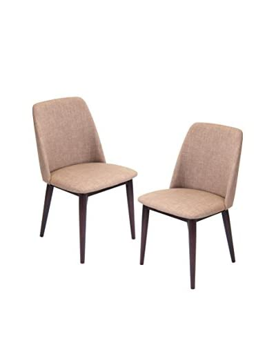Lumisource Tintori Set of 2 Dining Chairs, Brown/Espresso