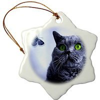 Wild Bramble 3-Inch Porcelain Snowflake Decorative Hanging Ornament, Blue and The Butterfly Russian Blue Cat with A Fantasy Art Feeling (Russian Blue Cat Ornament compare prices)