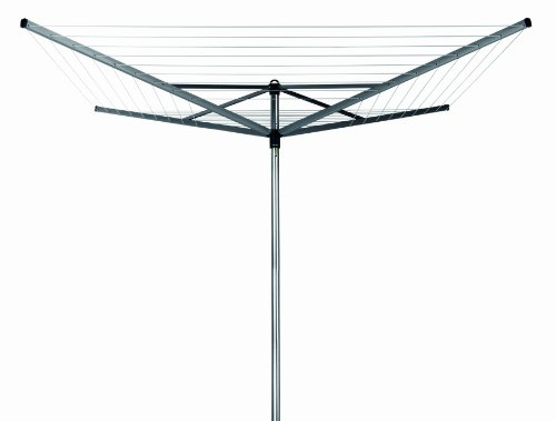 Brabantia Top Spinner Rotary Dryer with 45mm Metal Soil Spear, 60m, 4 arms, Metallic Grey