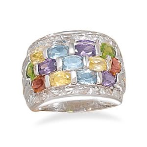 Sterling Silver Rhodium Plated 3 Row Multicolor/ 2 Row Clear CZ Ring / Size 7