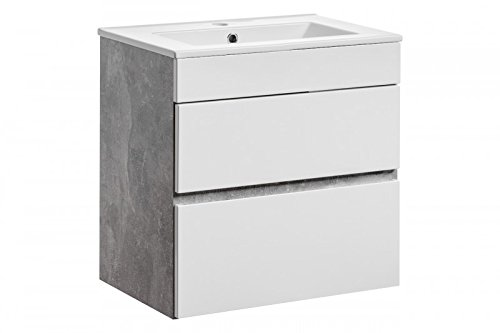 Sottolavabo 'Gregory w' lavabo bagno mobili Bianco calcestruzzo, Gregory 60.Zera 150 Sch.Schubl.