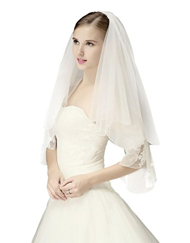 2T Fingertip Wedding Bridal Veil Pencil Edge with Comb-V39 White