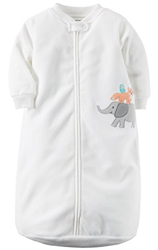 Carters One Piece Zoo Animals Micro Fleece Sleep Bag or Sack (0-9 Months, White Animals)