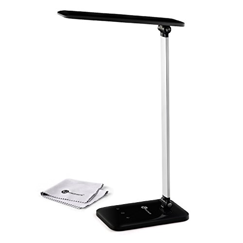 TaoTronics Elune Dimmable LED Desk Lamp (Flexible Arm, 3-Level Dimmer Cool White Light, Touch-Sensitive Controller, Glossy Black, 6W)