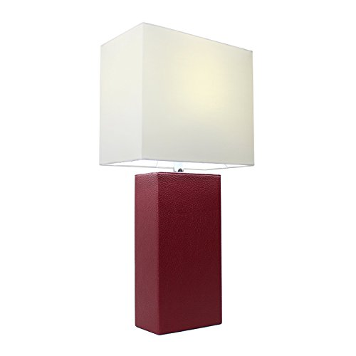 Elegant Designs LT1025-RED Modern Genuine Leather Table Lamp, Red (Red And Black Lamps compare prices)