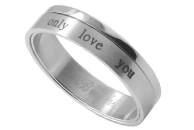 ONLY LOVE YOU - Love Ring / Promise Ring (SIZE 8) Size Width 6mm - Top Quality 316L Stainless Steel Womens Rings Size 6, 7, 8, 9 & 10. Stainless Steel Commitment Rings for women rings for teens girls. Purity Ring or Anniversary Gifts for her. I Love you Gifts. (8)