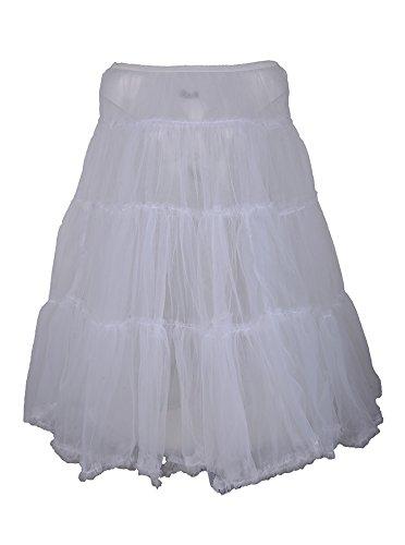 Edler 2-lagiger White Vintage Tüllrock / Petticoat - Weiß Rockabilly RR968