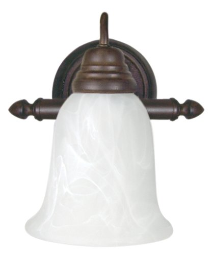 Yosemite Home Decor Jh011-1Db Wall Sconce Light, White Marble Glass Shade, Dark Brown Finished Frame front-258997