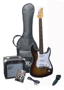 Electric Guitar Package – Includes Guitar, Amp, Strap and Instructional DVD SX RST 3TS w/GA1065